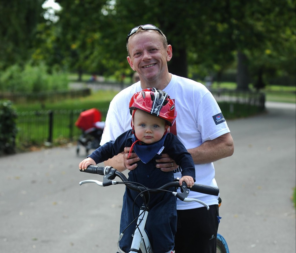 Travelodge's charity Marathon-Decathlon for 'KidsOut', the fun and happiness charity helping disadvantaged children in the UK.  The fundraising event has raised £50,000 for the charity. Pictured are Paul Harvey, MD for development at Travelodge, with his son Max.