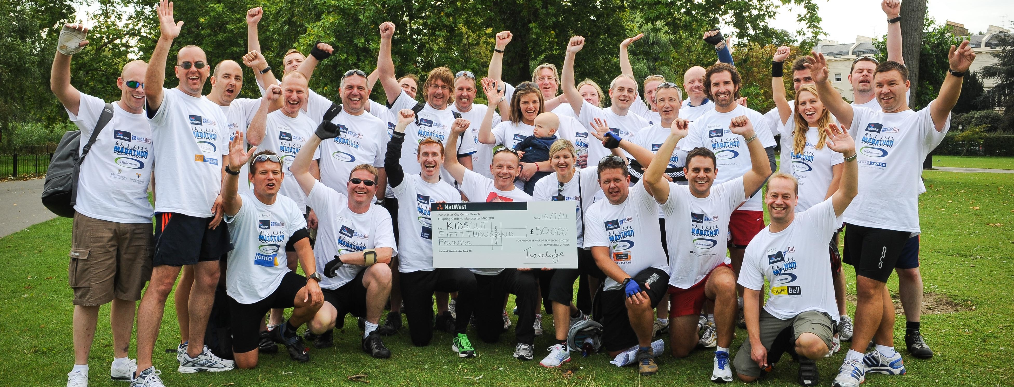 Travelodge's charity Marathon-Decathlon for 'KidsOut', the fun and happiness charity helping disadvantaged children in the UK.  The fundraising event has raised £50,000 for the charity.