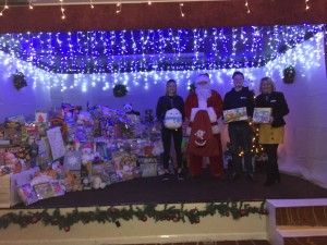 The KidsOut team collecting toys from the Peterborough Marriott Hotel