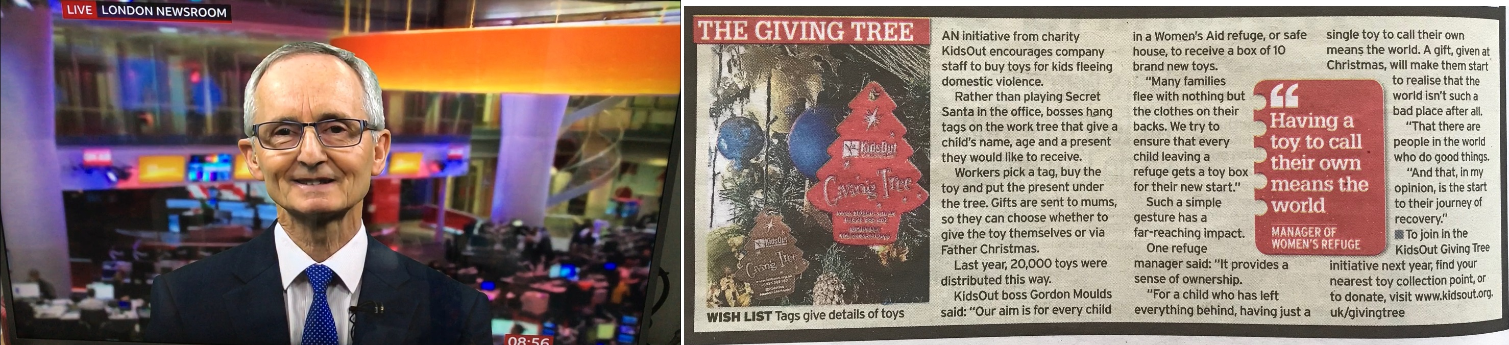 Giving Tree in the Press! Left: Gordon Moulds, KidsOut CEO, on BBC Breakfast; Right: KidsOut's Giving Tree features in the Daily Mirror