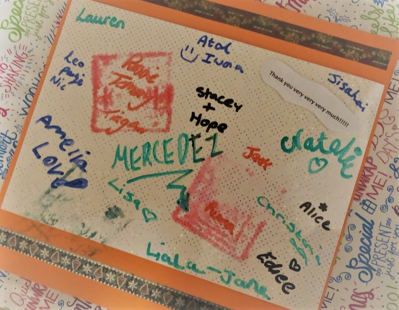 A thank you card from children in refuge